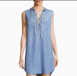 ANTHROPOLOGY Lace-Up Stripe Denim Shirt Dress